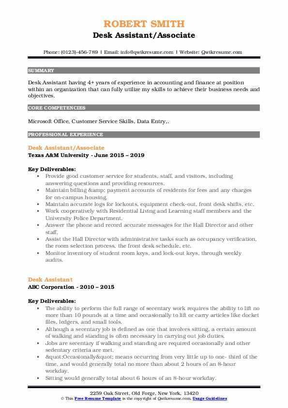 Finance Associate/Supervisor Resume Model