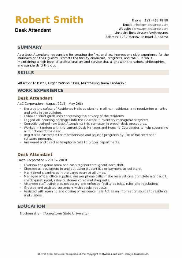 Desk Attendant Resume example