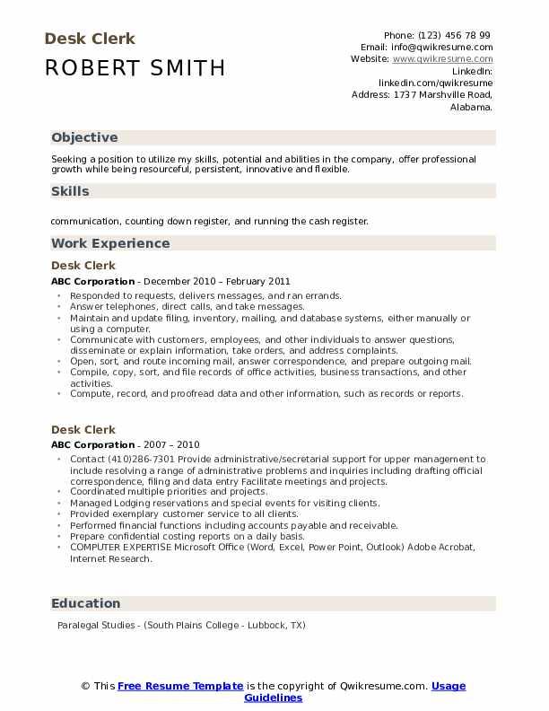 Desk Clerk Resume Template
