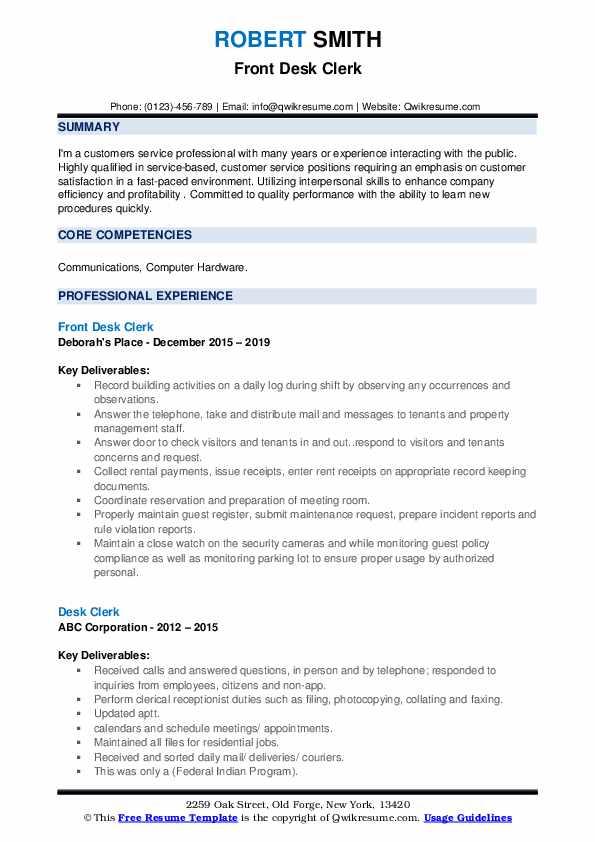 Desk Clerk Resume Samples | QwikResume