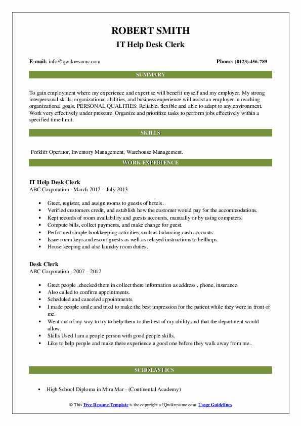 IT Help Desk Clerk Resume Example