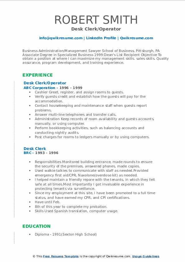 Desk Clerk/Operator Resume Format