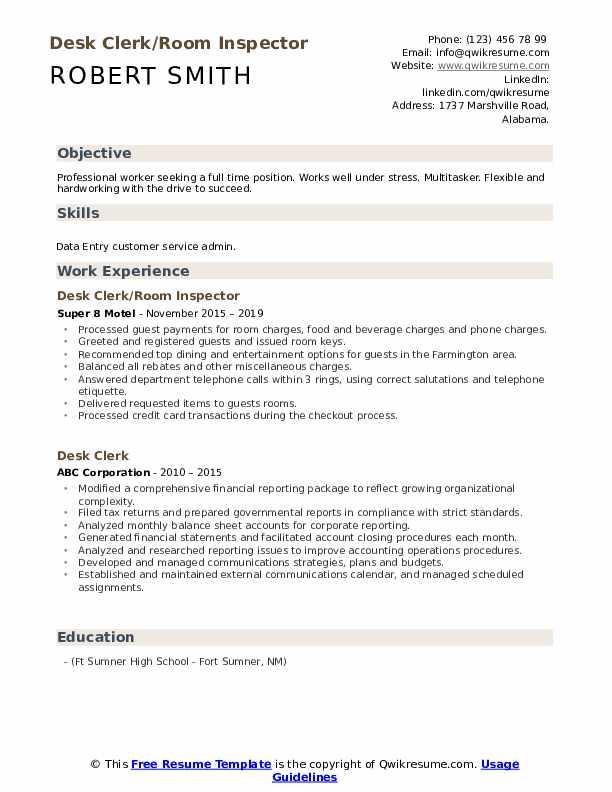 Desk Clerk/Room Inspector Resume Template