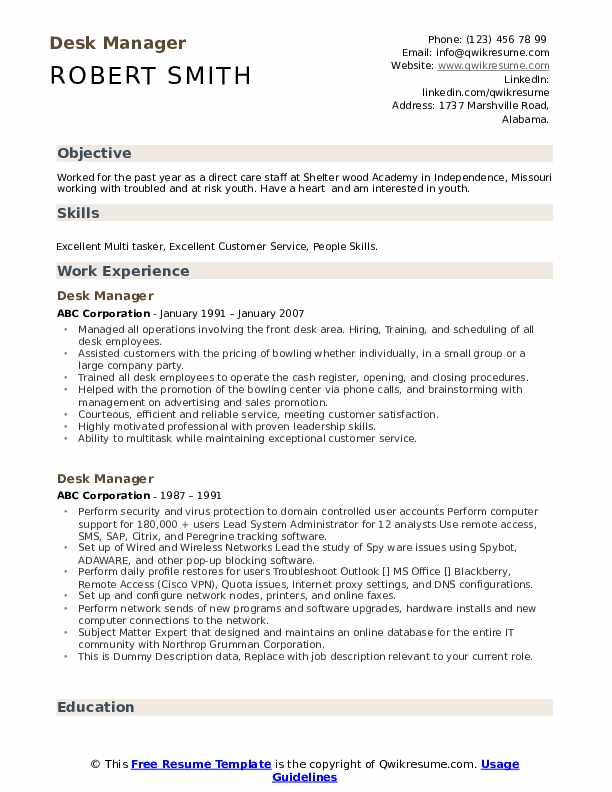 Desk Manager Resume example