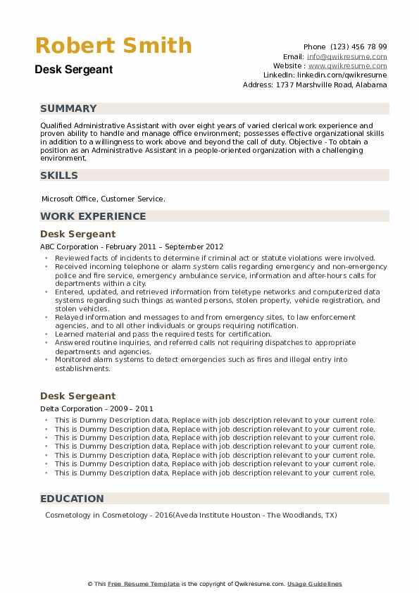 Desk Sergeant Resume example