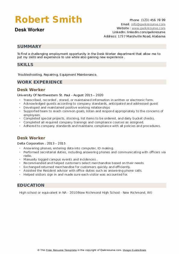 Desk Worker Resume example