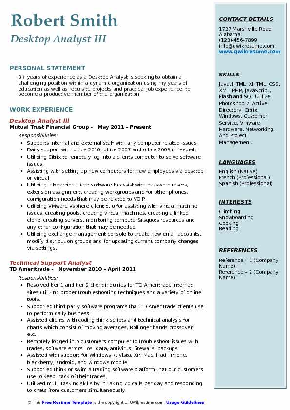 Desktop Analyst III Resume Sample