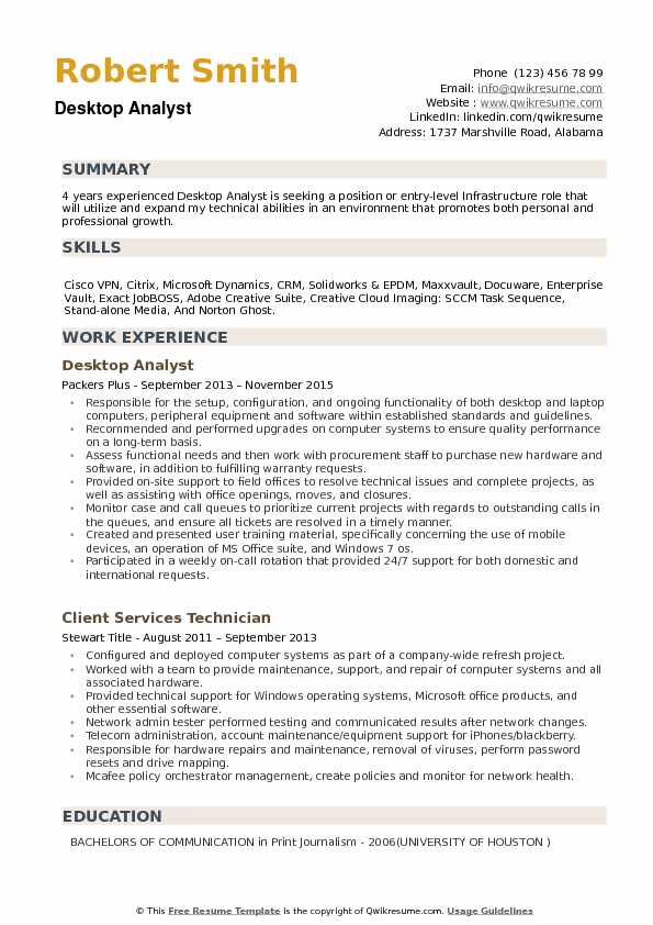 Desktop Analyst Resume example