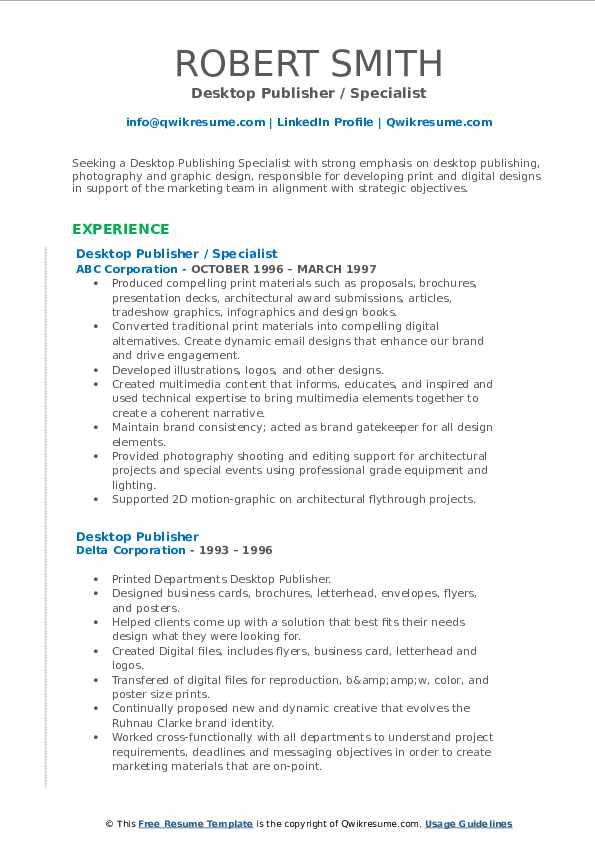 desktop publisher resume samples  qwikresume
