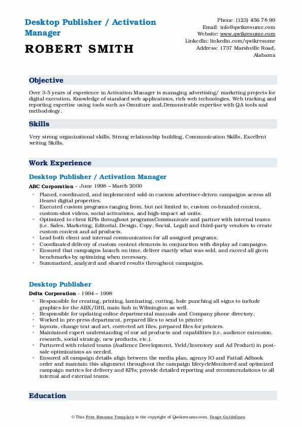 Publisher Resume