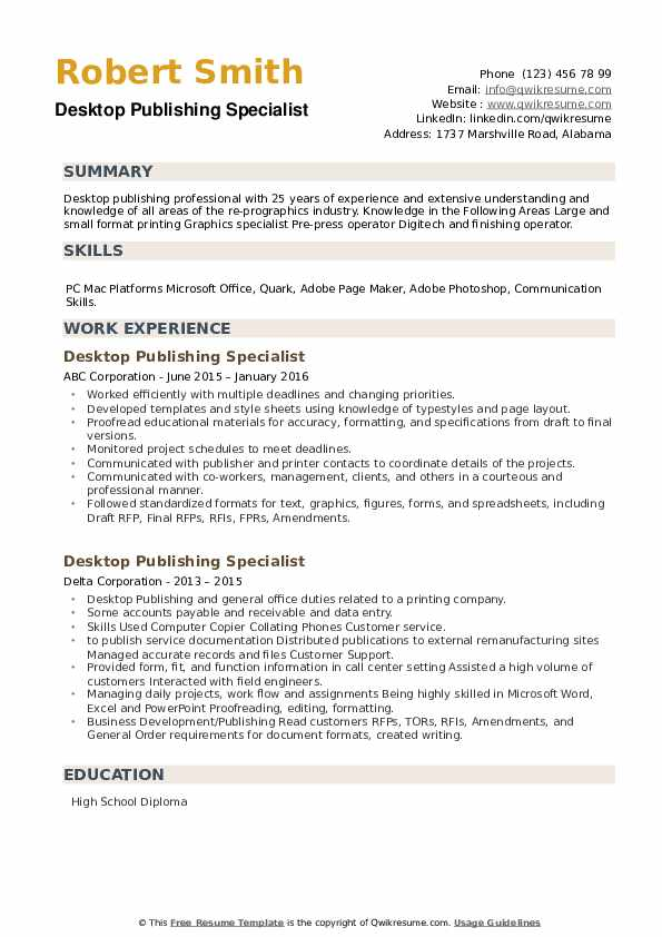 Desktop Publishing Specialist Resume example