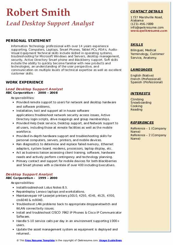 Lead Desktop Support Analyst Resume Example