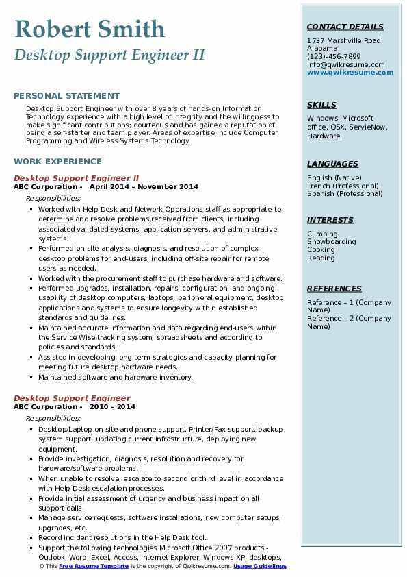 desktop support engineer resume samples
