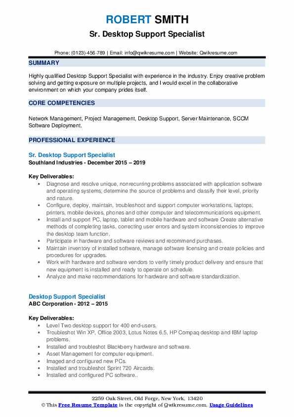 Sr. Desktop Support Specialist Resume Format