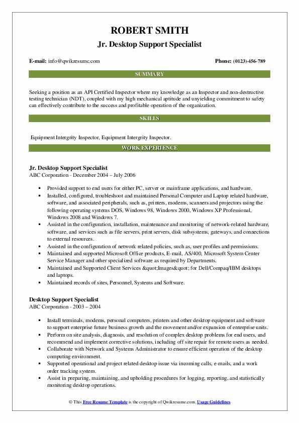Jr. Desktop Support Specialist Resume Example