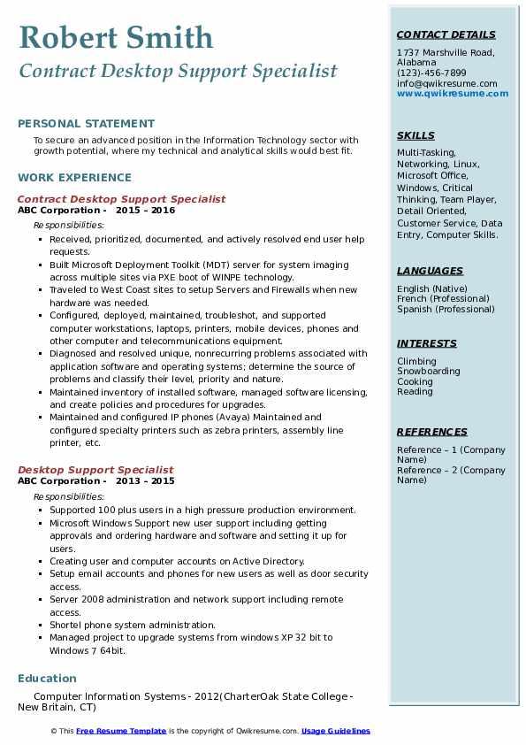 Contract Desktop Support Specialist Resume Sample