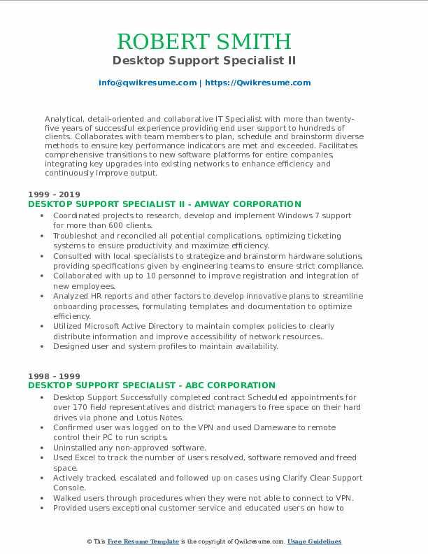Desktop Support Specialist II Resume Sample