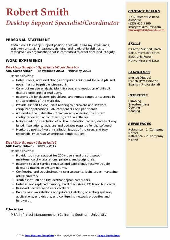 Desktop Support Specialist/Coordinator Resume Sample