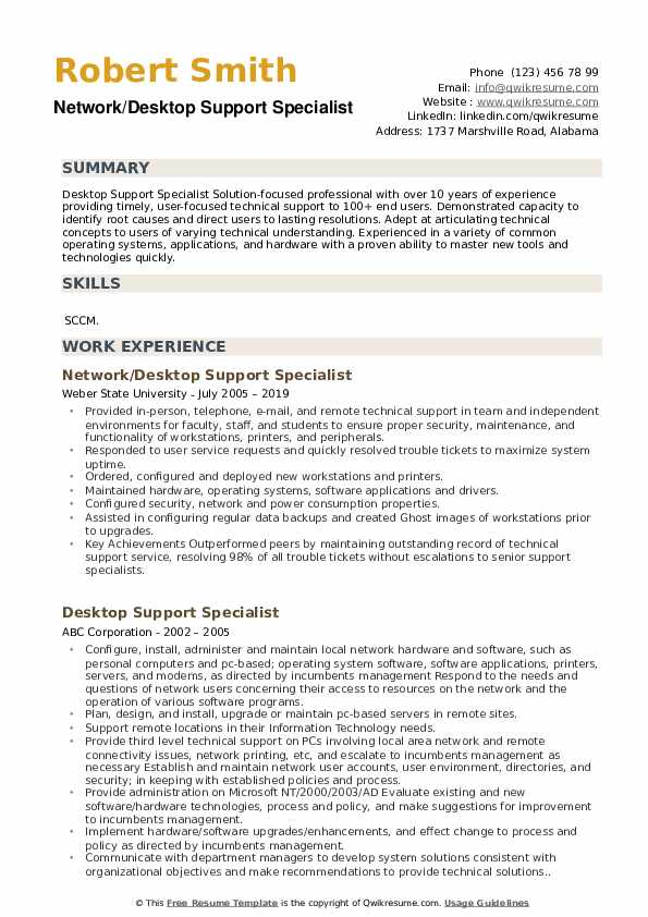Network/Desktop Support Specialist Resume Sample