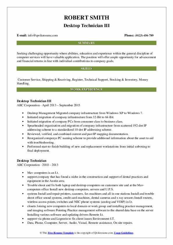 Desktop Technician III Resume Format