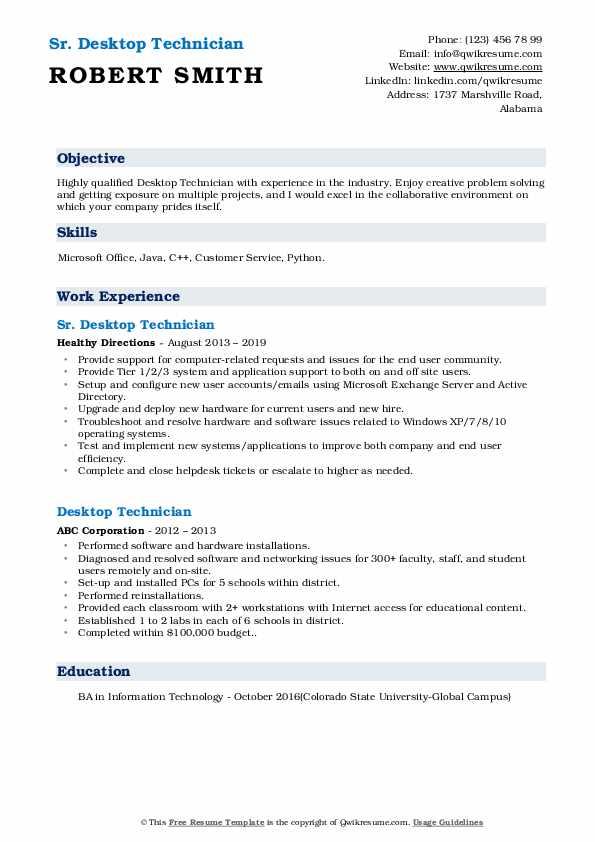 Sr. Desktop Technician Resume Model