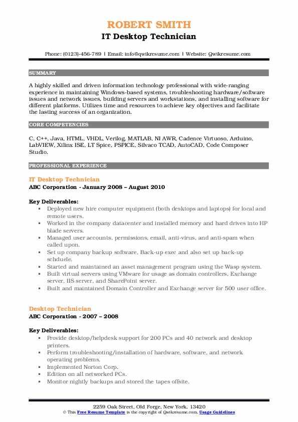 IT Desktop Technician Resume Model