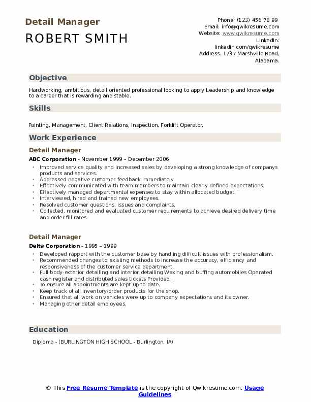 Detail Manager Resume Samples Qwikresume