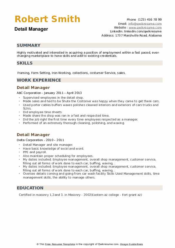 Detail Manager Resume example