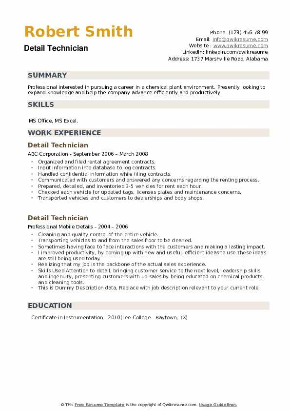 Detail Technician Resume example