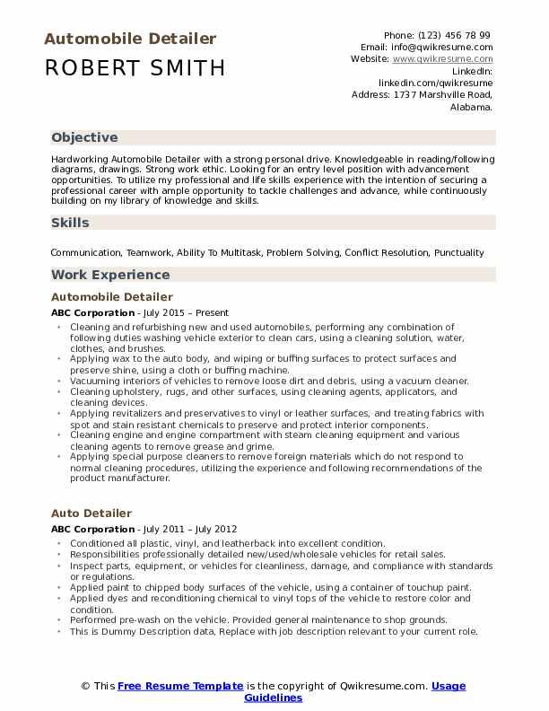 Automobile Detailer Resume Template