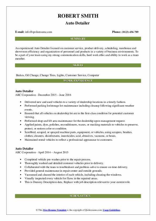 Auto Detailer  Resume Template