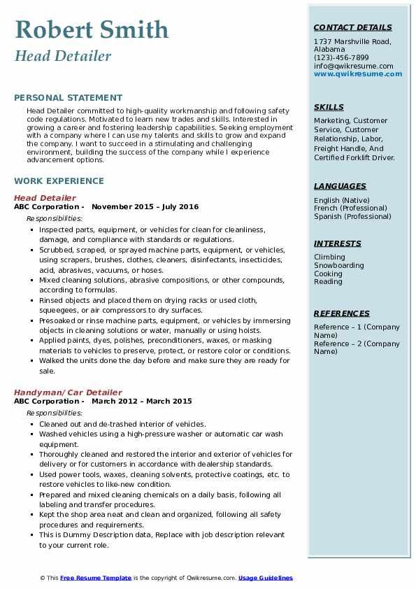 Head Detailer Resume Example