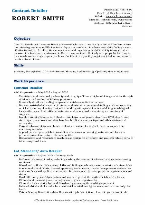 Contract Detailer Resume Template
