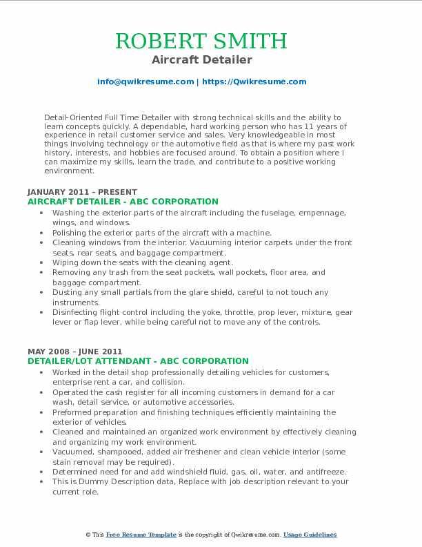 Aircraft Detailer Resume Model