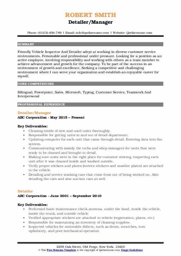 Detailer Resume Samples Qwikresume