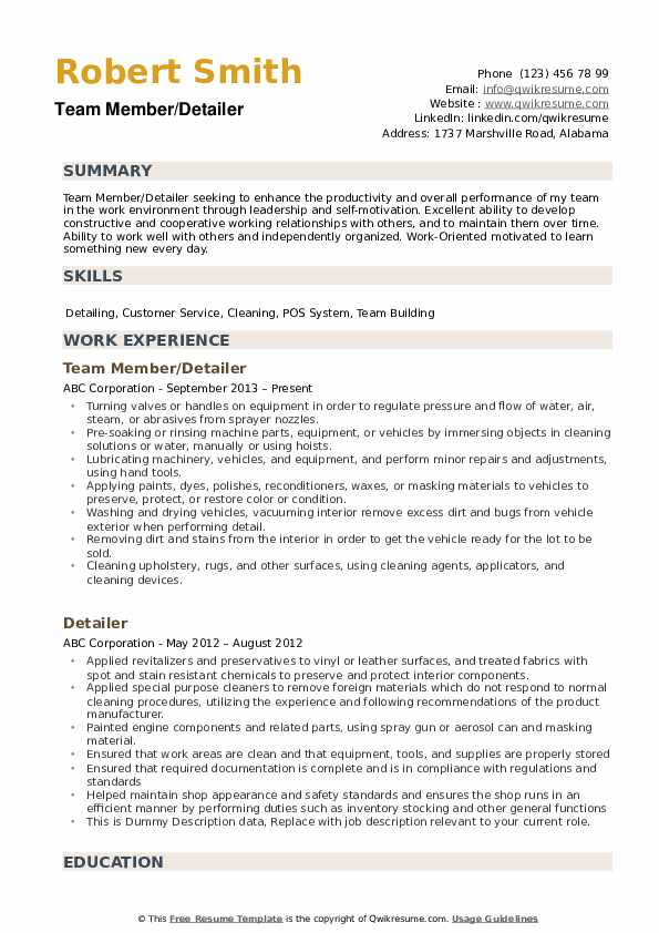 Detailer Resume Samples Qwikresume