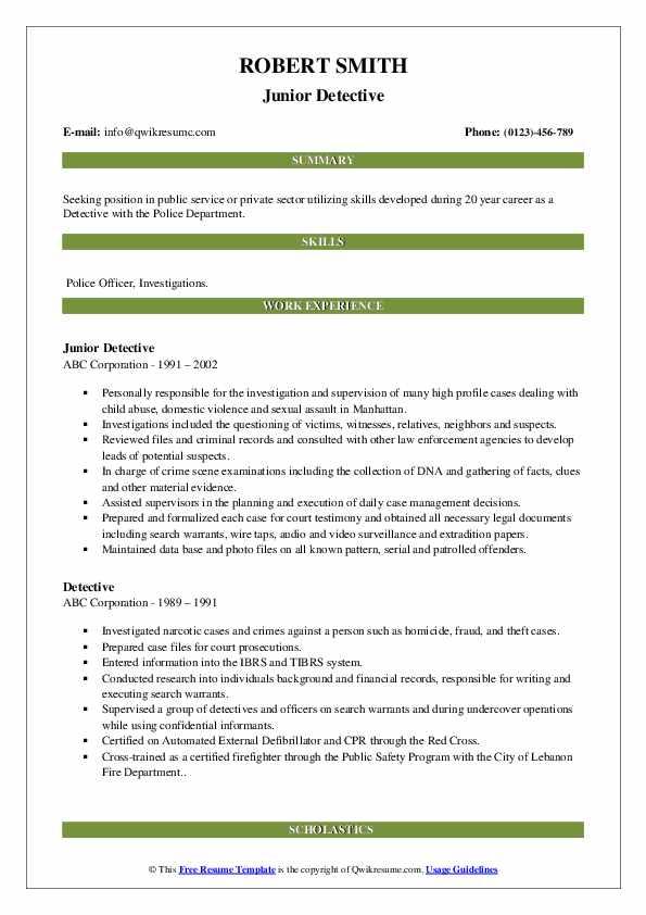 Junior Detective Resume Format