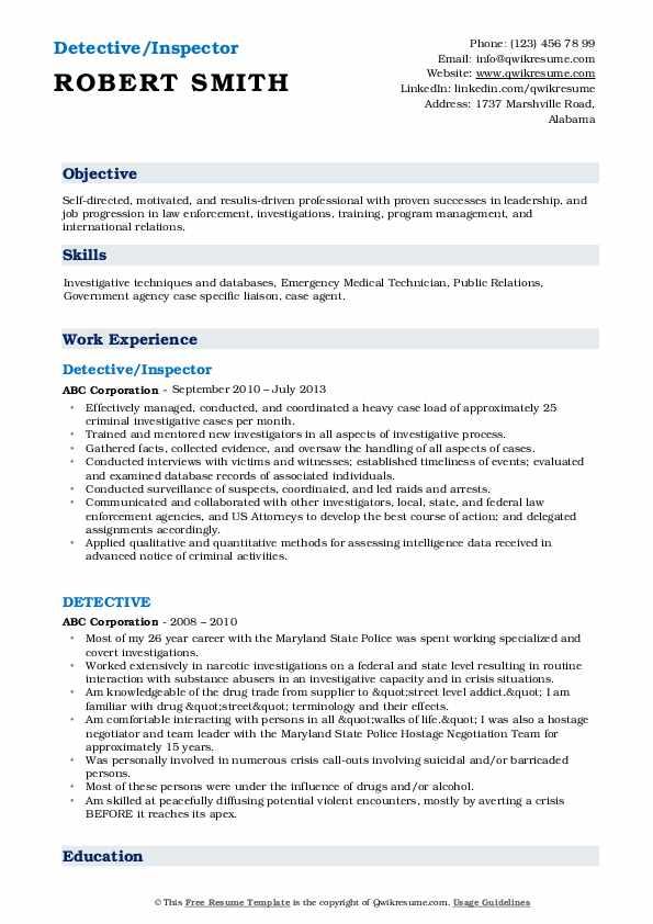 Detective/Inspector Resume Sample