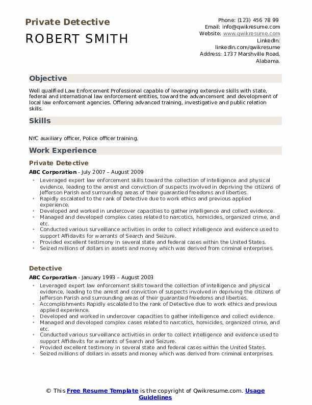 Private Detective Resume Model