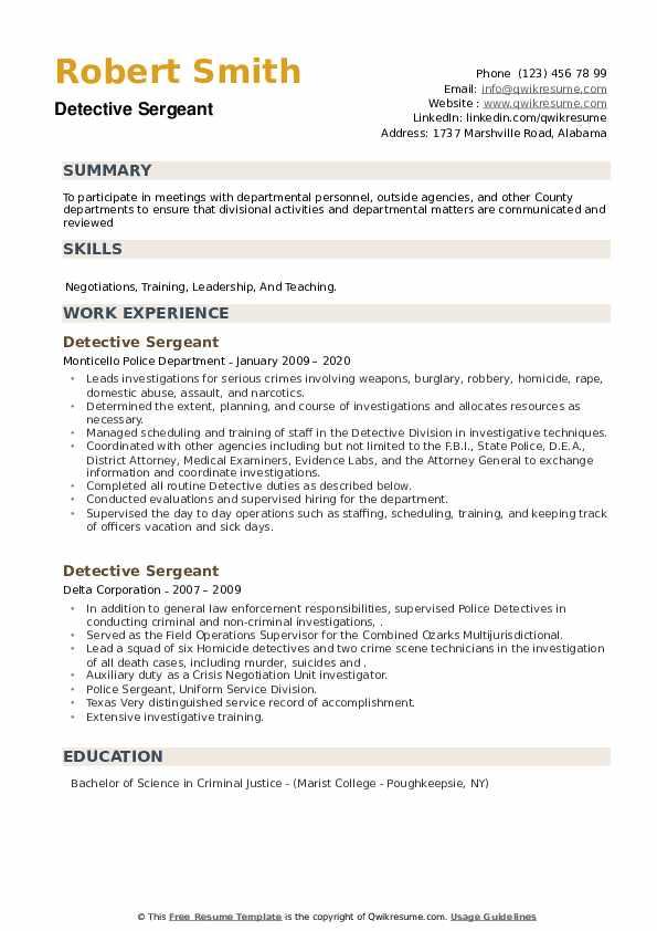 Detective Sergeant Resume example