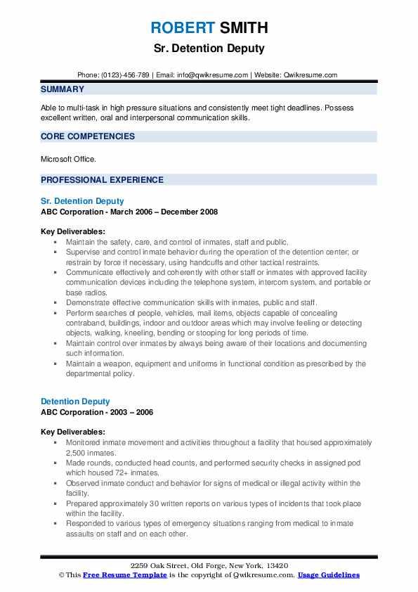 Sr. Detention Deputy Resume Model
