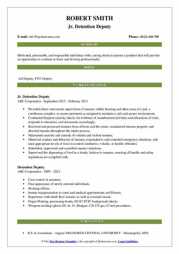 Jr. Detention Deputy Resume Model