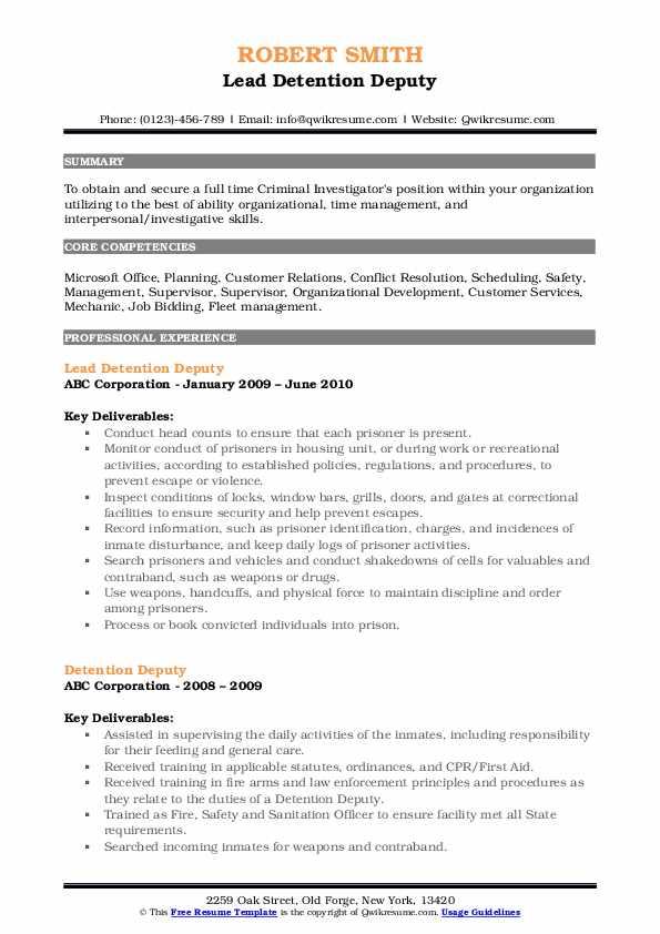 Lead Detention Deputy Resume Format