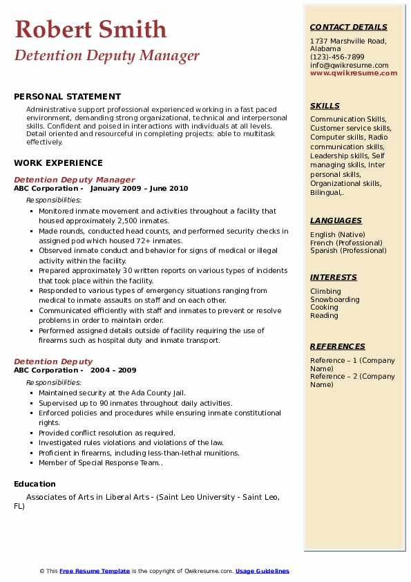 Detention Deputy Manager Resume Example