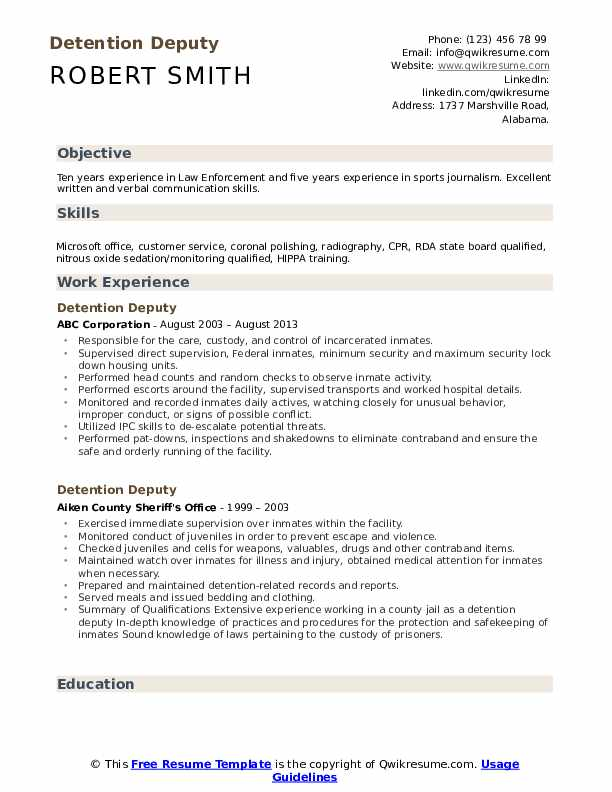 Detention Deputy Resume example