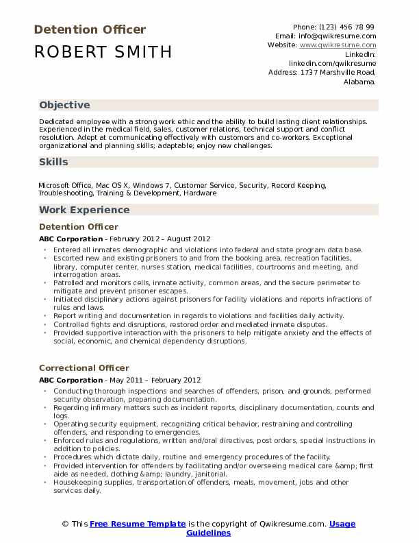 detention officer resume samples