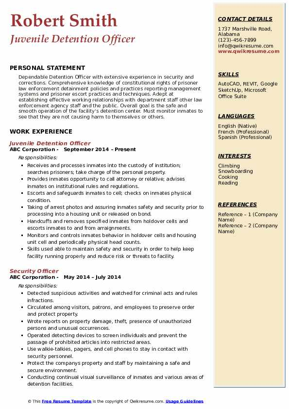 Detention Officer Resume Samples Qwikresume