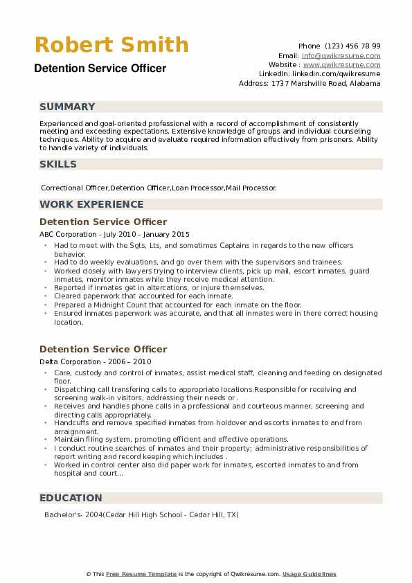 Detention Service Officer Resume example