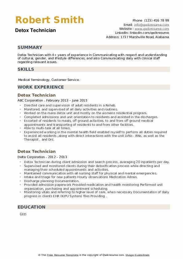 Detox Technician Resume example
