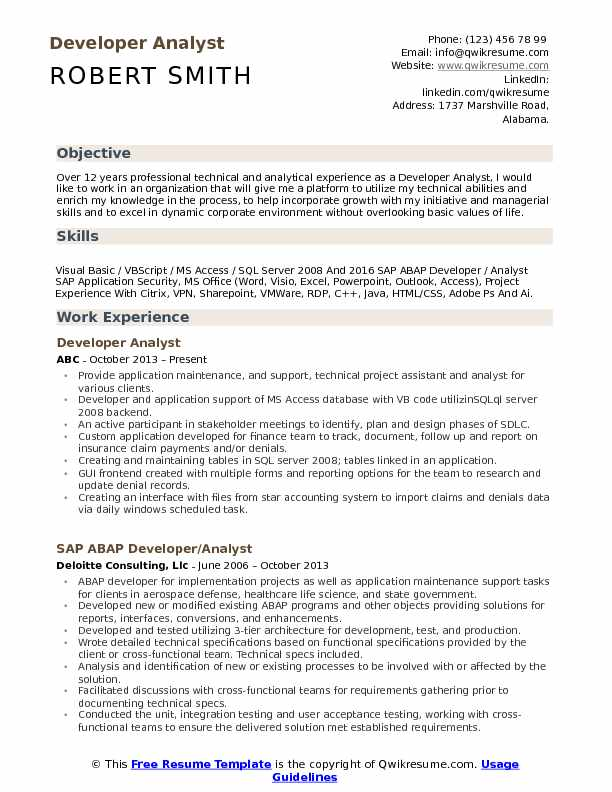 Developer Analyst Resume Sample